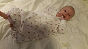 Baby Violet in baby sleep sack